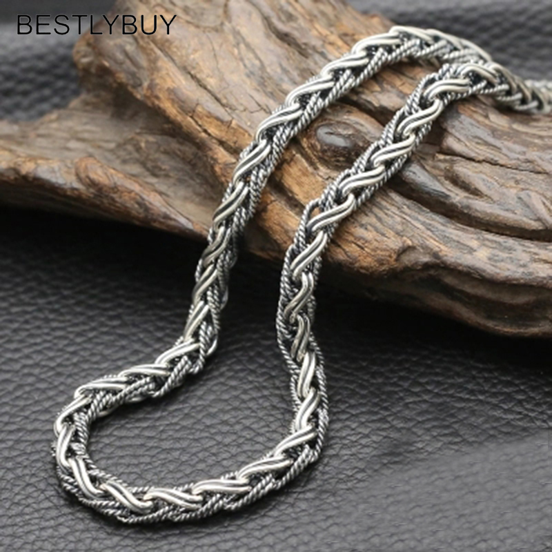 7mm Wide 100% Real 925 sterling silver Weave Rope accessories for men Chain Necklace Pendant jewelry best friends