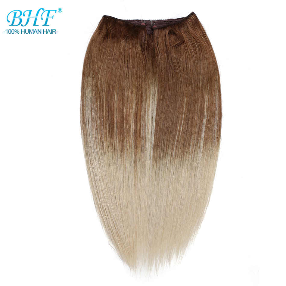 Bhf машина сделанная Remy рыбья проволока прямые 100% человеческие волосы для наращивания невидимые накладные человеческие волосы