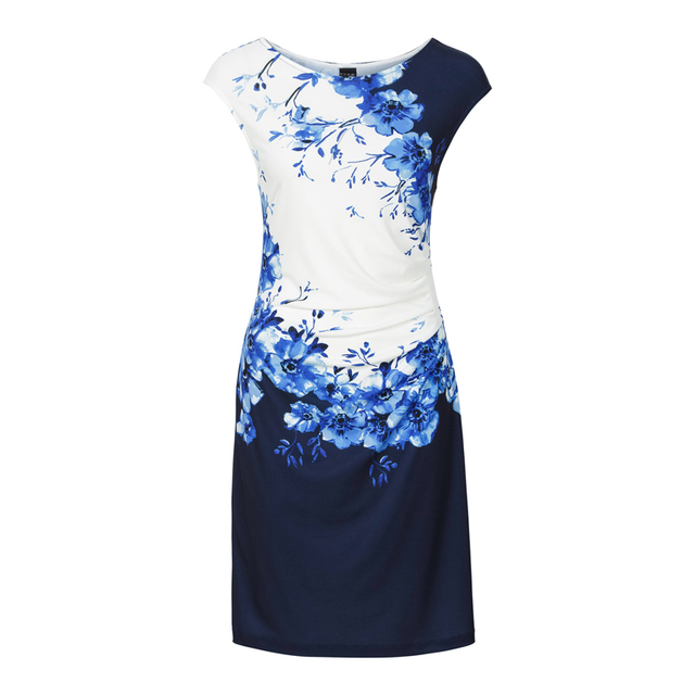 Casual Women Dresses 2017 Fashion Printing Blue Floral Short Summer Dress Women New Elegant Polyester Women Vestido Sleeveless