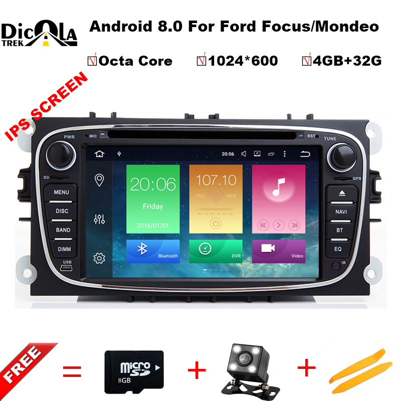 все цены на Android 8.0 Octa Core 1024*600 RAM 4G Car DVD Player GPS For FORD Mondeo S-MAX Connect FOCUS 2 2008 2009 2010 2011 with wifi онлайн