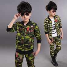 2016 spring autumn Kids suits Sportswear Camouflage Clothing 2pcs set Coat Pant Baby Boys clothes Camo