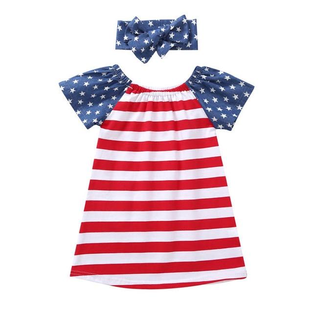 1054ea6b270e 2018 Girls Dress Cotton European   American Girls Clothes Summer Princess  Dress Children Clothes Baby Girls Dress W-Headband