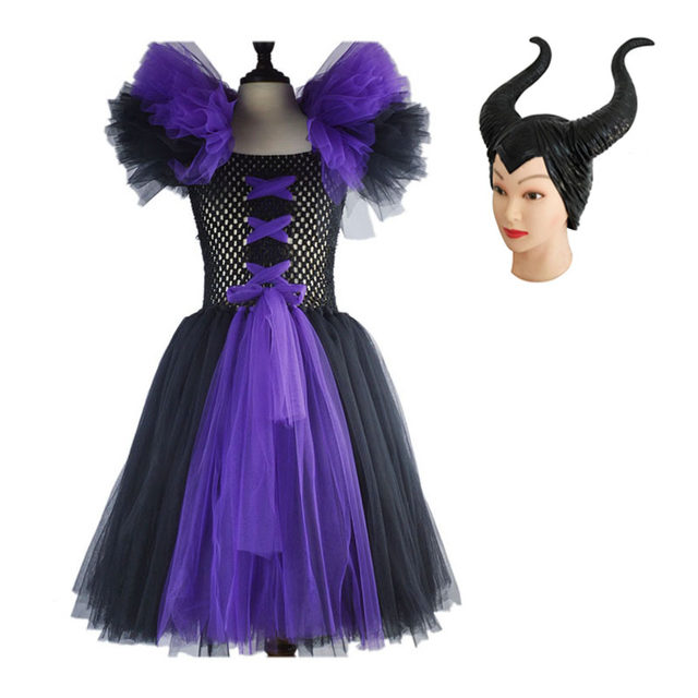 kids child girls maleficent costume carnival halloween fancy dress up royal cosplay dress up costume for kids