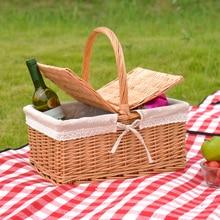 Picnic Basket Bamboo Basket Hand-held Basket Vegetable Blue Fruit Basket Rattan Shopping Basket Receiving Basket Egg Basket Knit цена