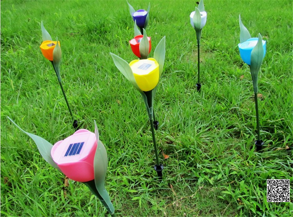 Lampada Fiore Tulipano : Ip65 rosa del fiore del tulipano solare lampada prato luce solare