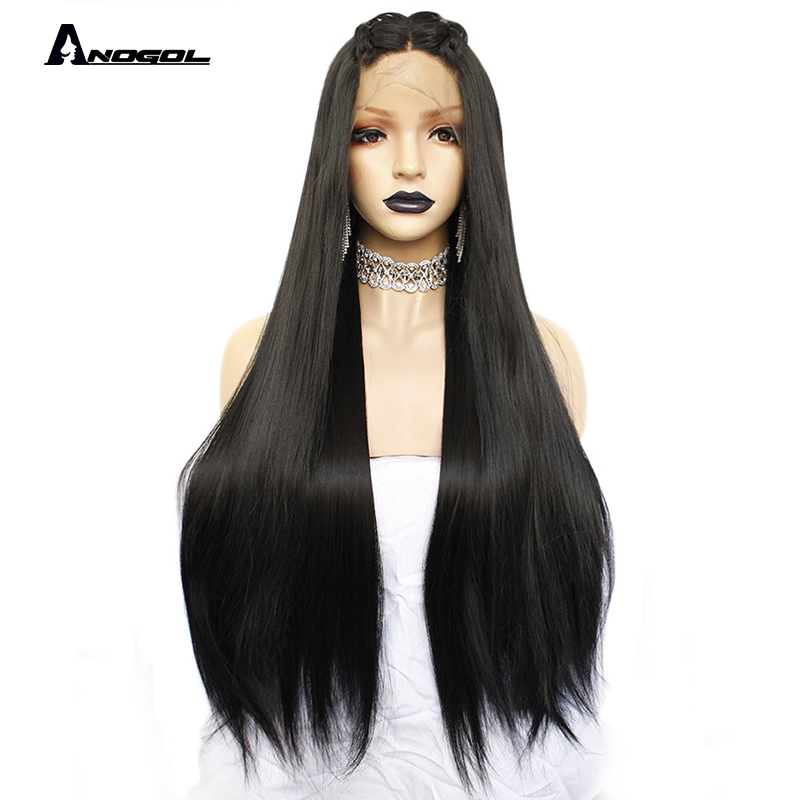 Anogol 1# Black Long Straight 2# Dark Brown Wigs For Women Heat Resistant High Temperature Fiber Synthetic Lace Front Wig 30