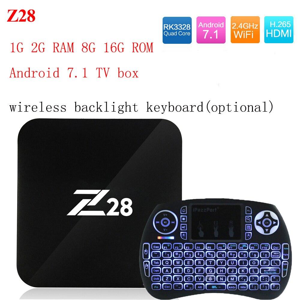 Z28 Android 7,1 caja de TV 1G 2G RAM 8g 16G ROM RK3328 Quad core 2,4 GHz wiFi H.265 HDMI Smart Set Top Box Media Player PK X96 A95X