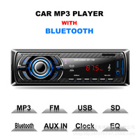 Car Radio Stereo Player Bluetooth Phone AUX IN MP3 FM/USB/1 Din/Remote Control Iphone 12V Car Audio Car Electronic 60*4W 2017