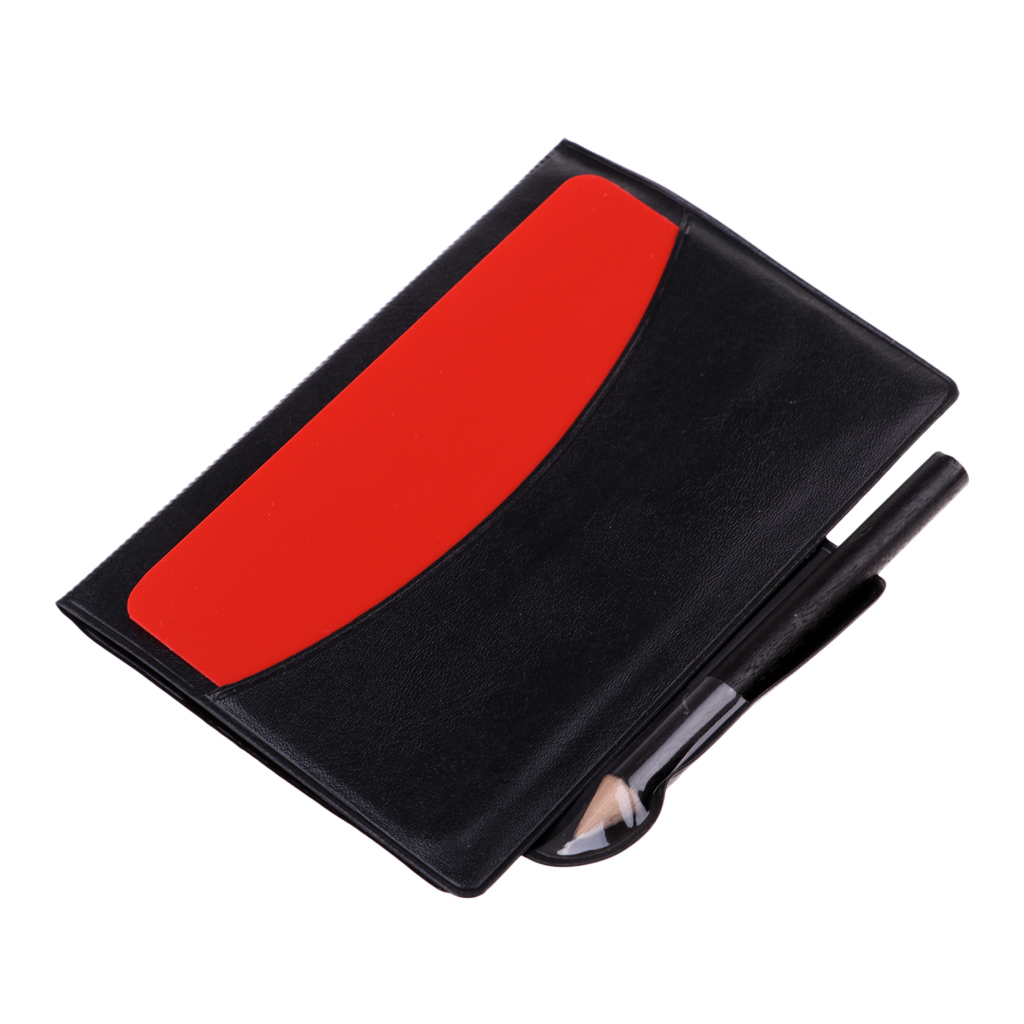 Sport Football Soccer Referee Red Yellow Card & Pencil With Score Sheet & PVC Wallet Scorebook 12x8cm