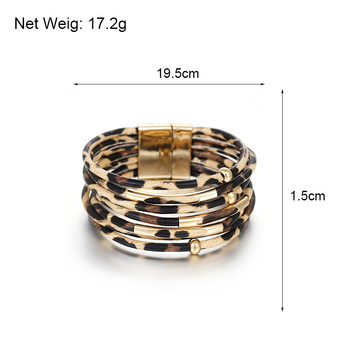 Amorcome Leopard Leather Bracelets & Bangles Elegant Multilayer Wide Wrap Bracelet Jewelry 5