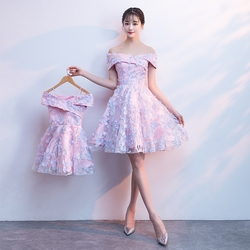 Mother Daughter Wedding Dress Ball Gown Off Shoulder Short Bridesmaid Birthday Party Princess Mom and  Daughter Dress Clothes