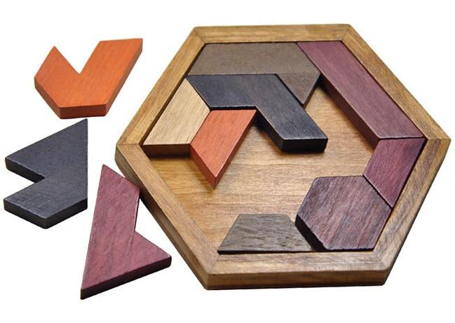 Clasic IQ Puzzle Mind Brain Teaser 2D 3D puzzle din lemn Jucarii - Jocuri și puzzle-uri - Fotografie 5