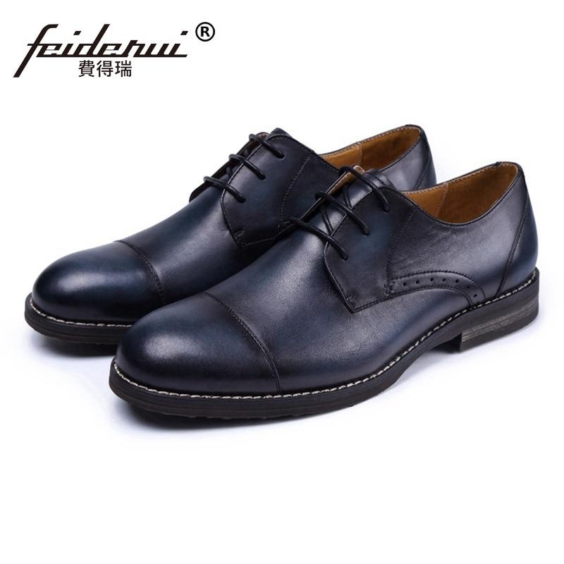Classic Genuine Leather Wedding Party Mens Handmade Footwear British Designer Round Toe Derby Man Formal Dress Shoes SS106