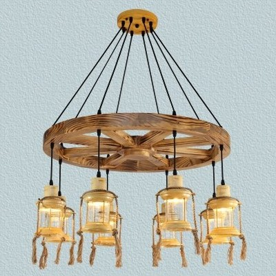 Antique Wooden Iron Pendant Chandelier Lamp Vintage Cafe Restaurant Bar  Creative Personality Rural Pilot Pendant Bar Droplight-in Pendant Lights  from Lights ... - Antique Wooden Iron Pendant Chandelier Lamp Vintage Cafe Restaurant