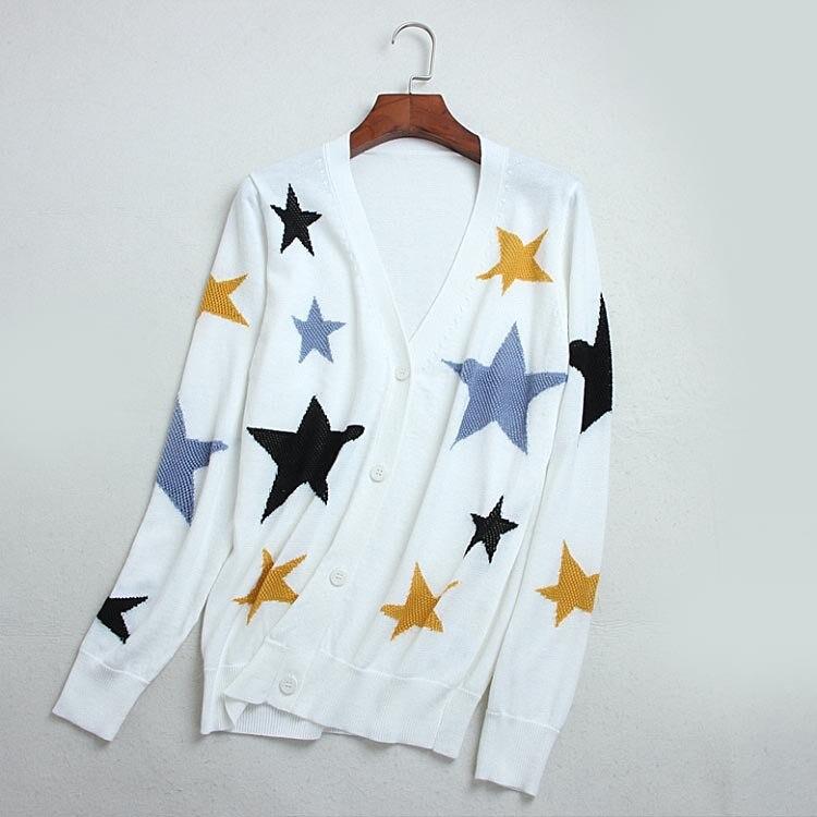 Haute Qualité Col Femmes Tricoté Imprimer Cardigans Boutons Élégant Pull Étoiles Évider Survêtement De V Unique Automne Jersey wZqTUT