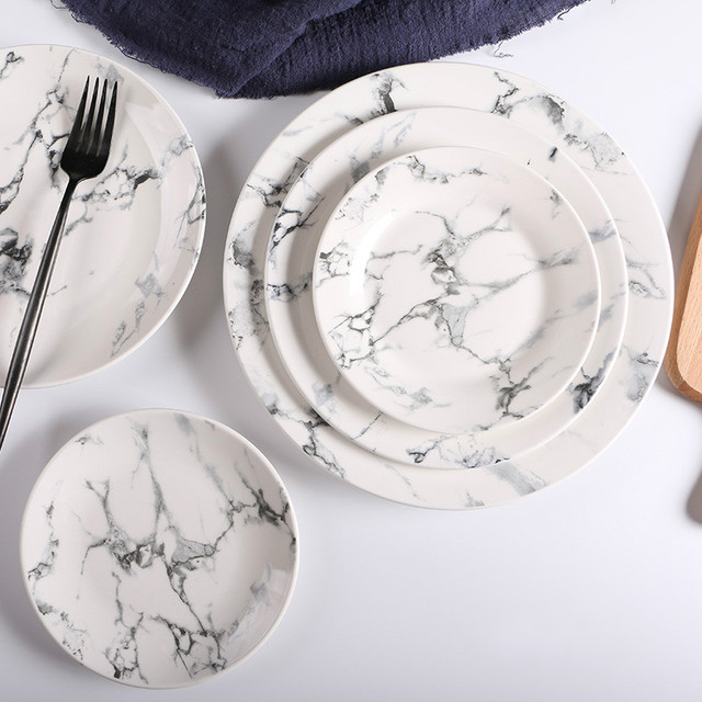 2pcs/lot Nordic style 6/ 8/10 inch Marble pattern dinner plates ceramic & 2pcs/lot Nordic style 6/ 8/10 inch Marble pattern dinner plates ...