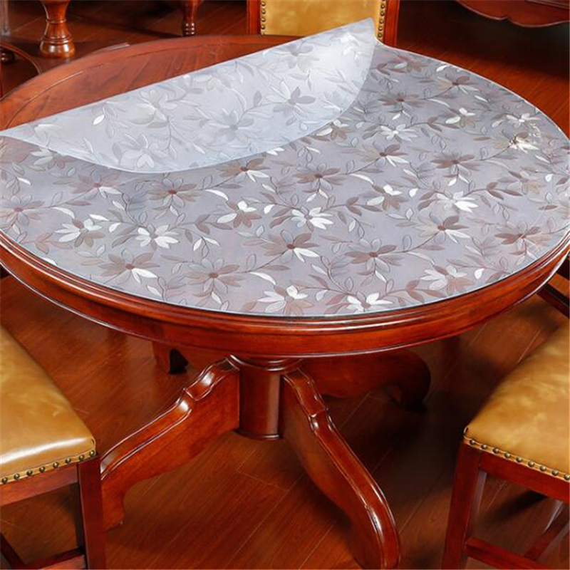 beibehang 2mm thickness pvc soft glass round tablecloths waterproof oil-free wash-free insulation mat European household pad