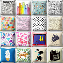 Hongbo 1 Pcs Kawaii Cute Cartoon Cat Cushion Cover Pillow Case Sofa Car Home Decor Christmas Decoration Gifts