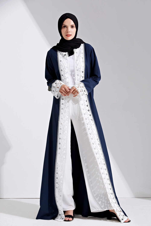 Fashion Women Muslim Abaya Dress Patchwork Lace Cardigan Moroccan Kaftan Turkish Dubai Dress Islamic Clothing