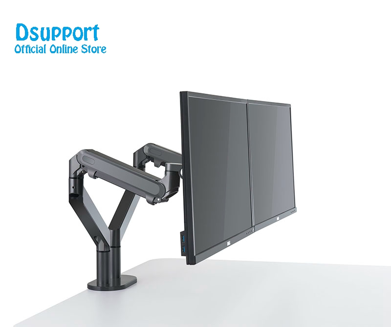 Image 3 - Dual Arm Monitor Mount Desk Stand,Fully Adjustable Aluminum  Monitor Holder Gas Spring Monitor TV Mounting for 17 32 OZ 2Monitor  Holder
