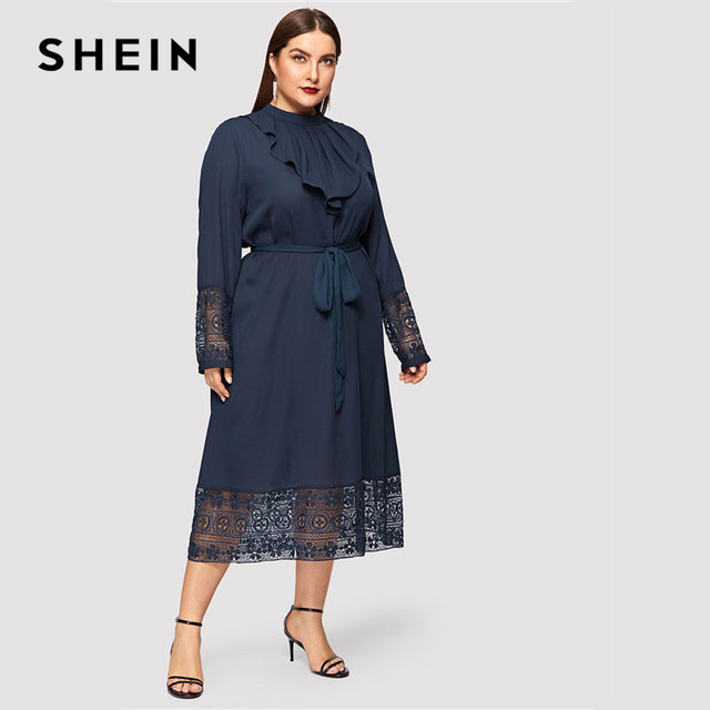 SHEIN Navy Women Plus Size Elegant Contrast Lace Belted Ruffle Trim Maxi Dress Women Stand Collar Long Sleeve Dresses 3