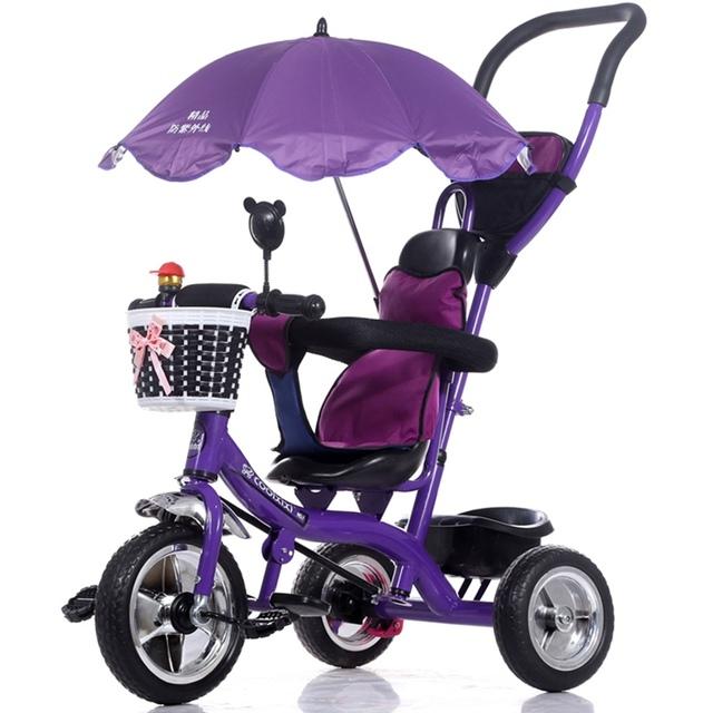 Infantil de luxo Carrinho de Bebê Triciclo Crianças Bicicleta Estrutura de Aço Roda Pneumática com Toldos Guarda-chuva Crianças Aprendizagem Carrinhos de Bicicleta