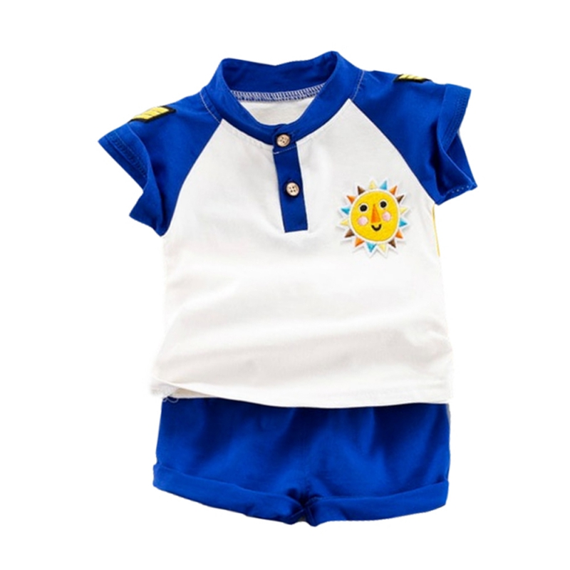 NewMandarin Collar Yellow/Blue Summer Baby Boys Short Sleeve Striped Letter Print Tops Blouse T shirt+Shorts Casual Outfits Sets - 2