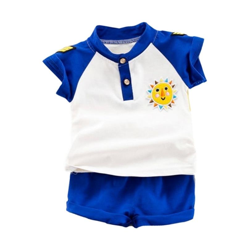 NewMandarin Kragen Gelb/Blau Sommer Baby Jungen Kurzarm Striped Brief Drucken Tops Bluse T shirt + Shorts casual Outfits Sets - 2