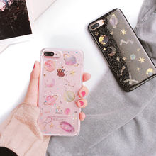 Cute Lovely Planet Stars Glitter Bling Soft Case for iPhone 5 5s 6 6s 7 8 Plus X Cover for Samsung Galaxy S7 edge S8 S9 Note 8/9(China)