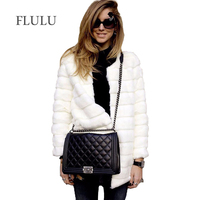 FLULU Winter Women Faux Fur Coat Casual Long Sleeve Jacket Coat Solid Fashion Slim Fur Warm Overcoat Casaco Feminino Plus Size