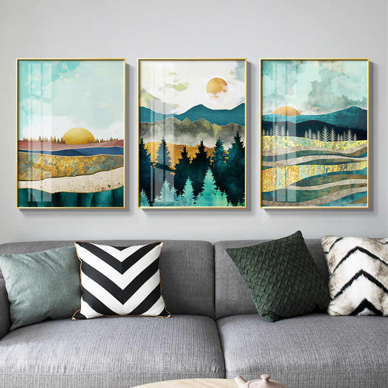 Nordic Sunrise Sunset canvas painting landscape posters and print unique decor wall art pictures for living room bedroom aisle