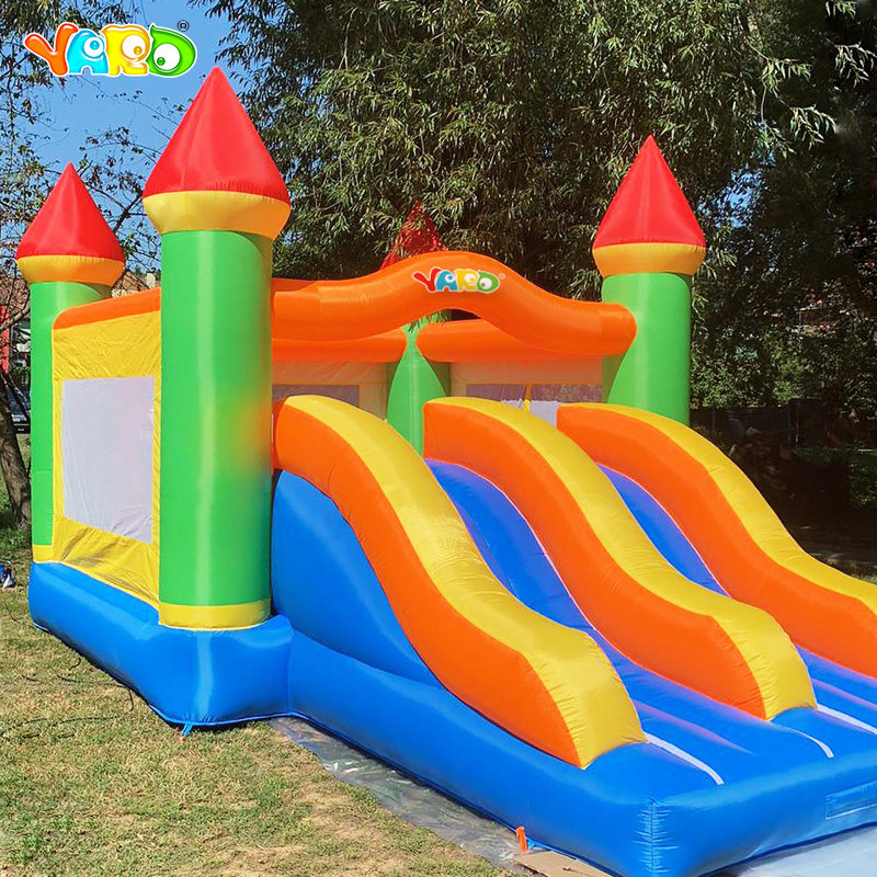 Kembung Giant Bounce Castle Trampoline Obstacle Double Slides With Blower 6.5 * 4.5 * 3.8 M Big Size Bouncy Castle Christmas Gift