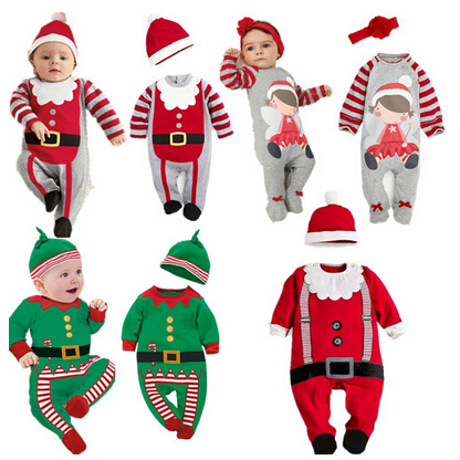 New 2019 Christmas Baby Boys Girls   Rompers   Costume Kids Clothes Newborn Clothes Long Sleeve Children Infant Clothing Set Top+Hat