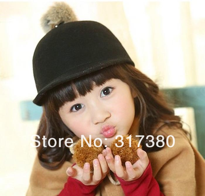 Wholesale Trendy Kids Spring Derby Wool Pom pom Hats Infant Boys Autumn Bowler  Hat Girl Felt Cap Childrens Winter Riding Caps-in Baseball Caps from  Apparel ... 3988734f2f7