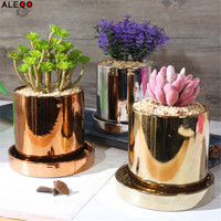 Modern Gold Ceramics Storage Jar Tank Scandinavian Electroplated Style Sundries Organizer Flower Vase Desk Storage Tin for Home