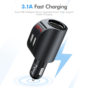 Dual USB Car Charger Digital Display Cigarette Lighter Car Chargers