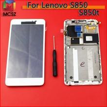100% Getest Nieuwe Originele Merk Zwart Wit TFT 1280x720 Voor Lenovo S850 Lcd Touch Screen Digitizer Vergadering met Frame