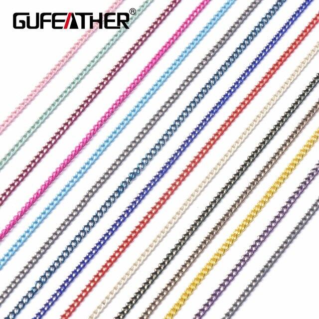 GUFEATHER C32, DIY bakır zincir, bilezik halhal kolye, takı yapımı, zincir genişliği 1.5mm, zincir uzunluğu 5 m