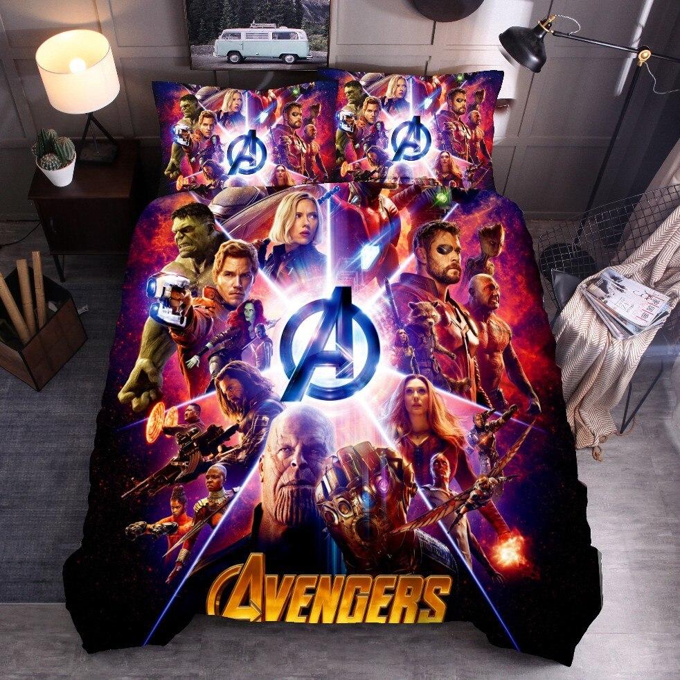 Funda de edredón 3D Avengers Capitán América Iron Man Hulk Fighter superhéroe juegos de cama King Queen tamaño completo Twin 2/3 Uds funda de almohada 100% Mulberry seda cama almohada/lujo Rosa oro Natural cabeza almohadas para dormir Material de relleno estilo europeo envío gratis
