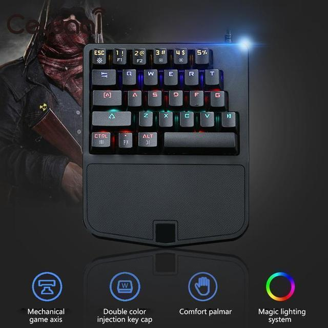 28 Keys Mini Mechanical Keyboard USB Keypad LED Backlit USB Computer Laptop Desktop Gaming Ergonomic Illuminated