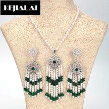 KEJIALAI New Arrival Bohemian Women Jewelry Sets Long Green Tassel Beads Necklace Beads Chain Paved Zirconia Stud Luxury Style