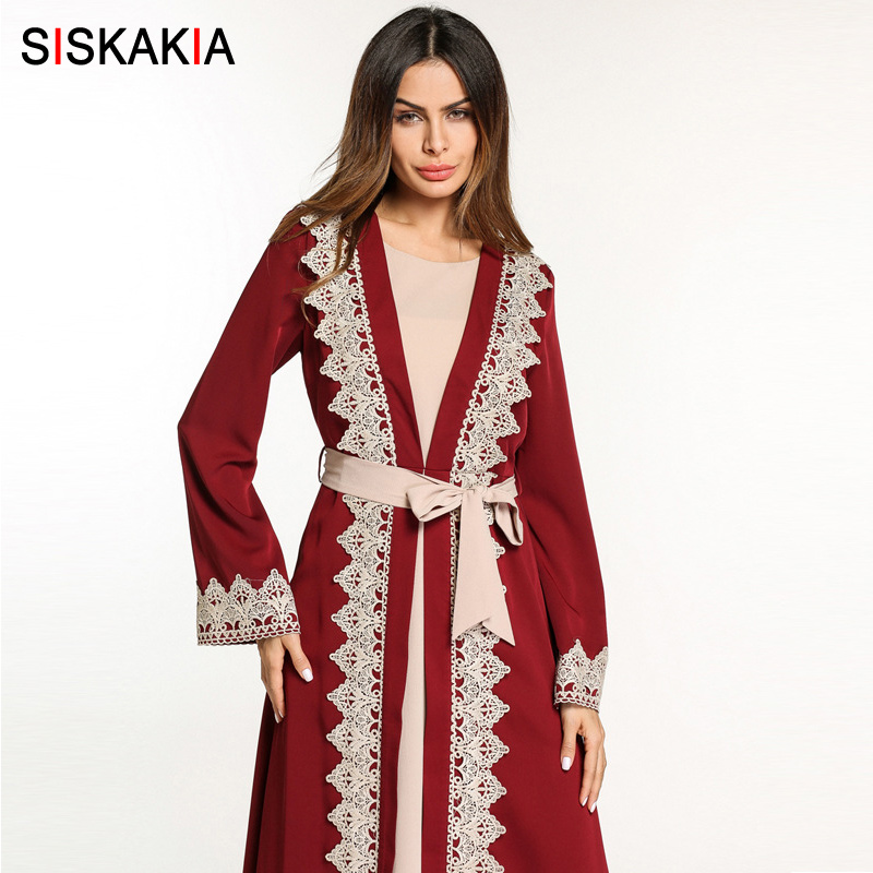 5a80b92392ffe Siskakia muslim abaya women Evening party wear Arab Dubai Tunics chic lace  edge patchwork embroidered abaya with slim sashes-in Islamic Clothing from  ...