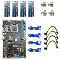 Charger USB 3 0 4Pcs PCI E Riser Card 1pcs New Professional 6 GPU Mining Motherboard