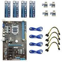 Charger USB 3 0 4Pcs PCI E Riser Card 1pcs New Professional 6 GPU Mining Motherboard