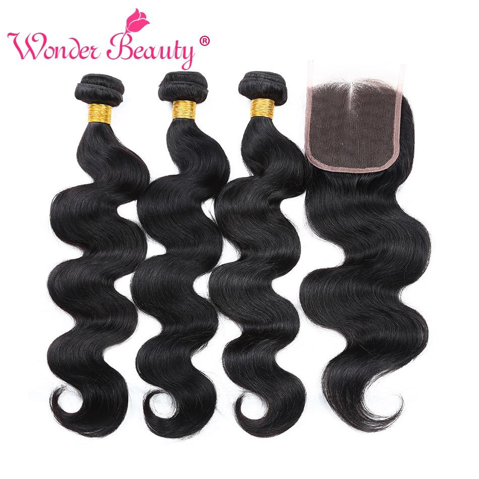 Wonder Beauty Maleisië Body Wave bundel deals niet-remy - Mensenhaar (voor zwart) - Foto 2