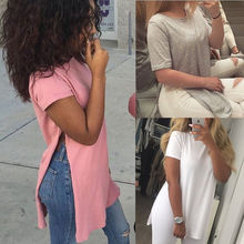 2016 summer women top clothing casual  t-shirt slit women tops solid color white gray pink black cheap-clothes-china