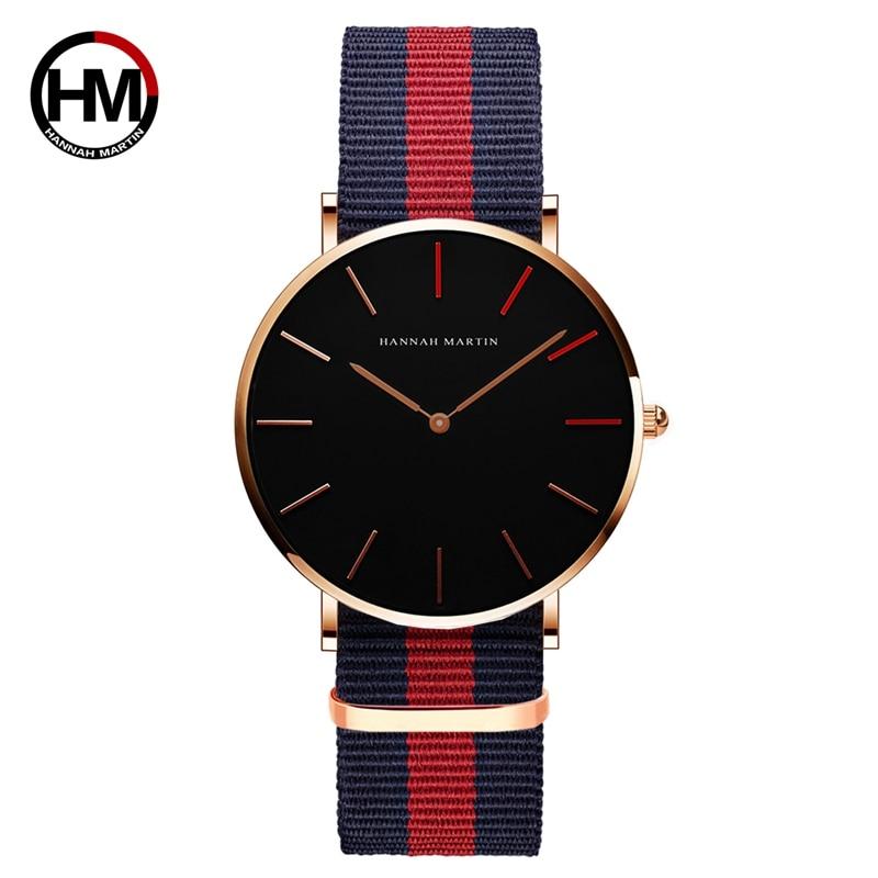 Hannah Martin Relogio Masculino Nylon Strap Ultra-Thin Minimalist Wrist Watch Simple Dial Elegant Rose Gold Men's Watch