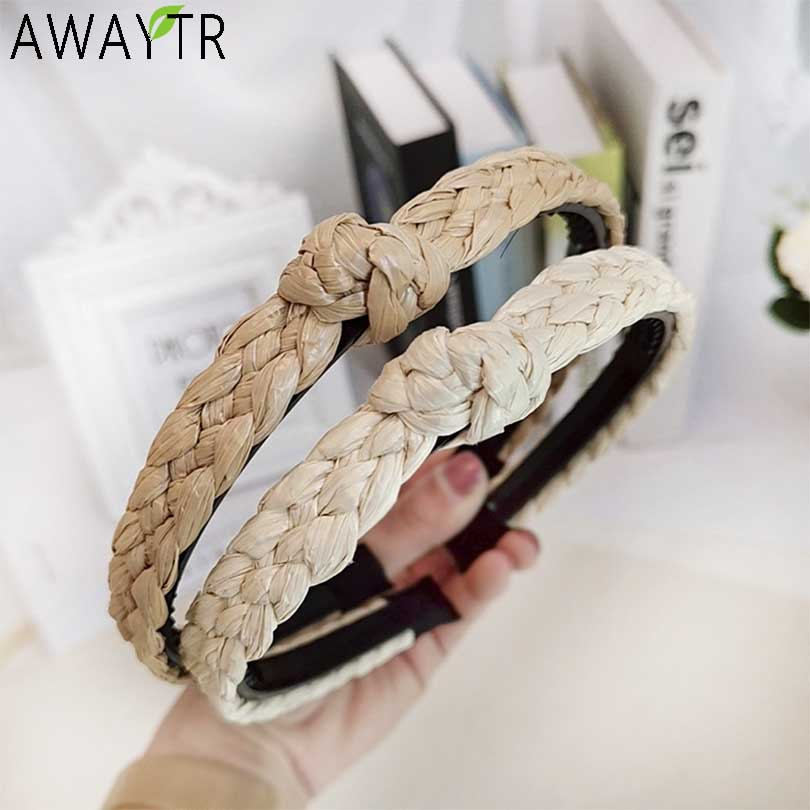 AWAYTR Bohemia Women Hairbands Adjustable Headband Twist Knot Wide Straw   Headwear   Hair Hoop Handmade Hair Band Hair Accessories