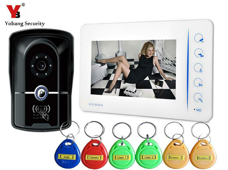 Yobang Security 7 Inch Night Vision Camera Home Security Video Intercom Door Phone With 4CH-Monitor Function Doorbell System