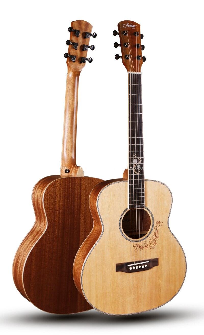 JOKER 38 pouces gsmini corps solide guitare avec table en épicéa massif/corps en acajou avec corps pleine taille, JD-M312